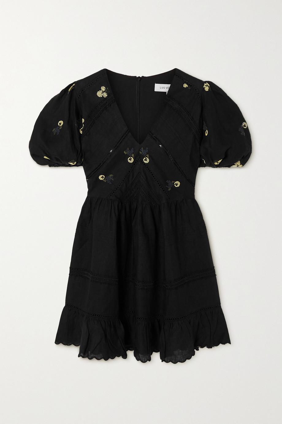 Lug Von Siga Emma Minikleid aus besticktem Leinen mit Rüschen