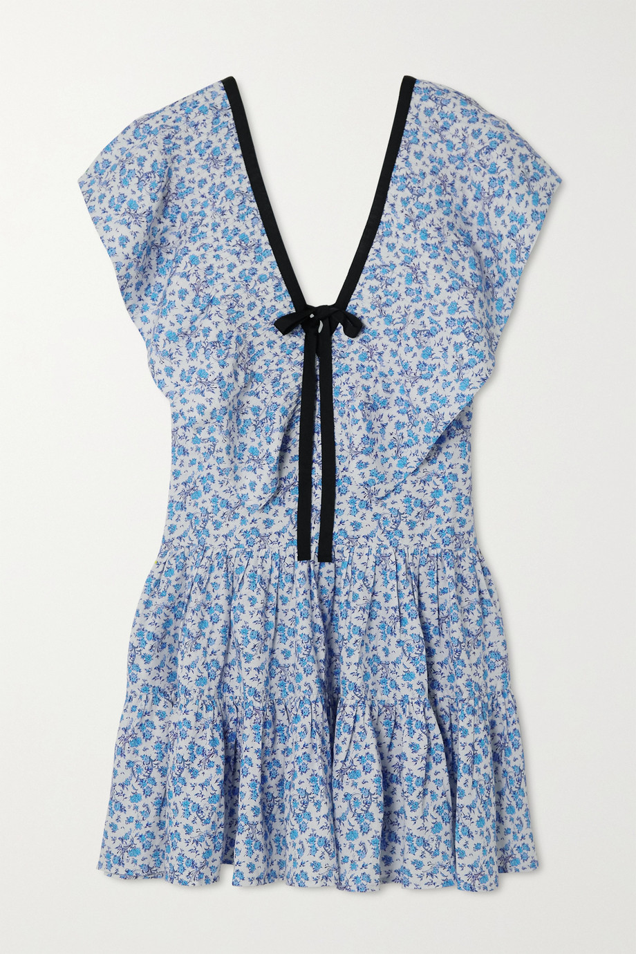 Lug Von Siga Mini-robe en coton et lin mélangés imprimés à volants Cora