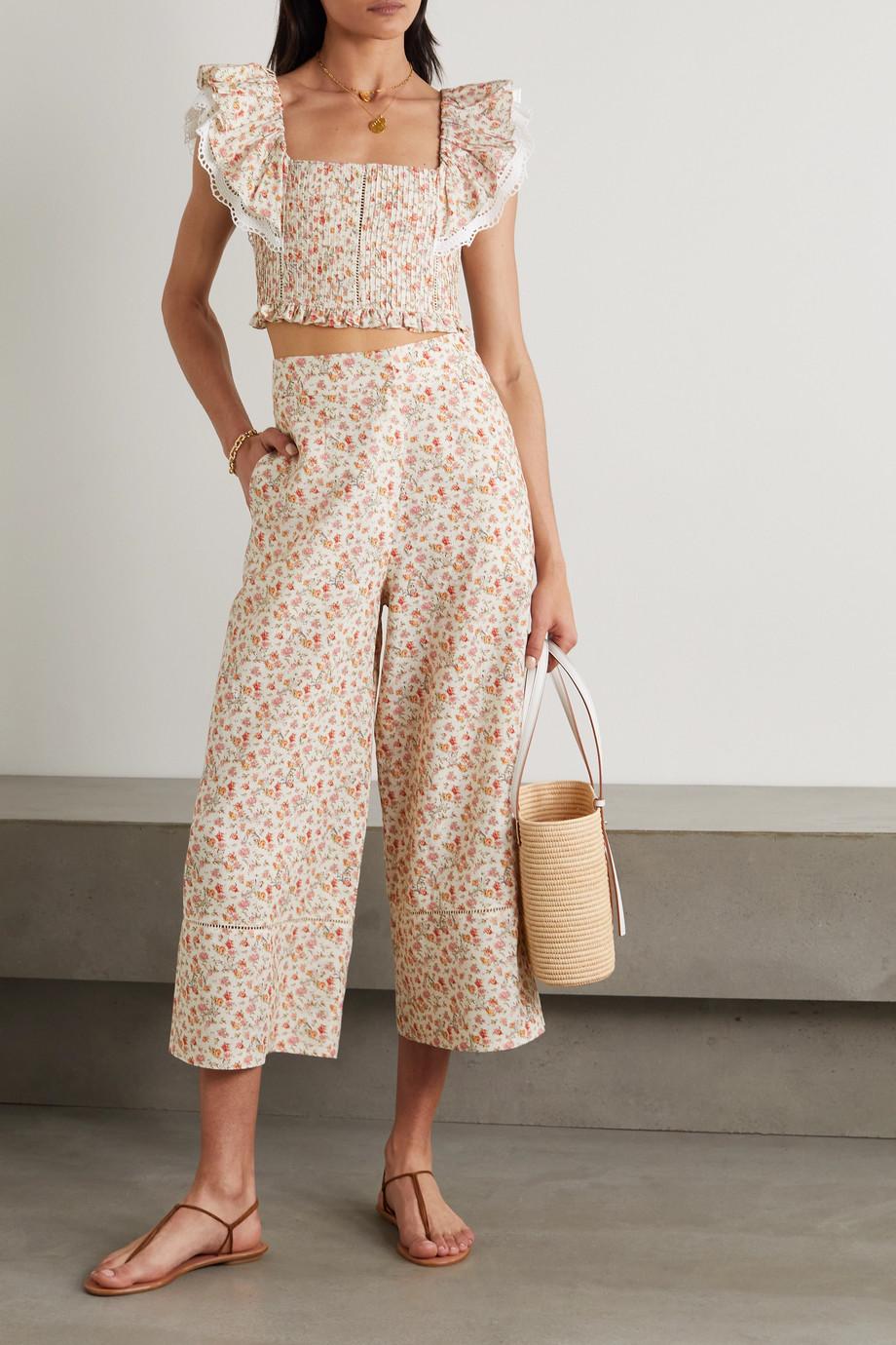 Lug Von Siga Pantalon droit raccourci en coton et lin mélangés à imprimé fleuri Bianca