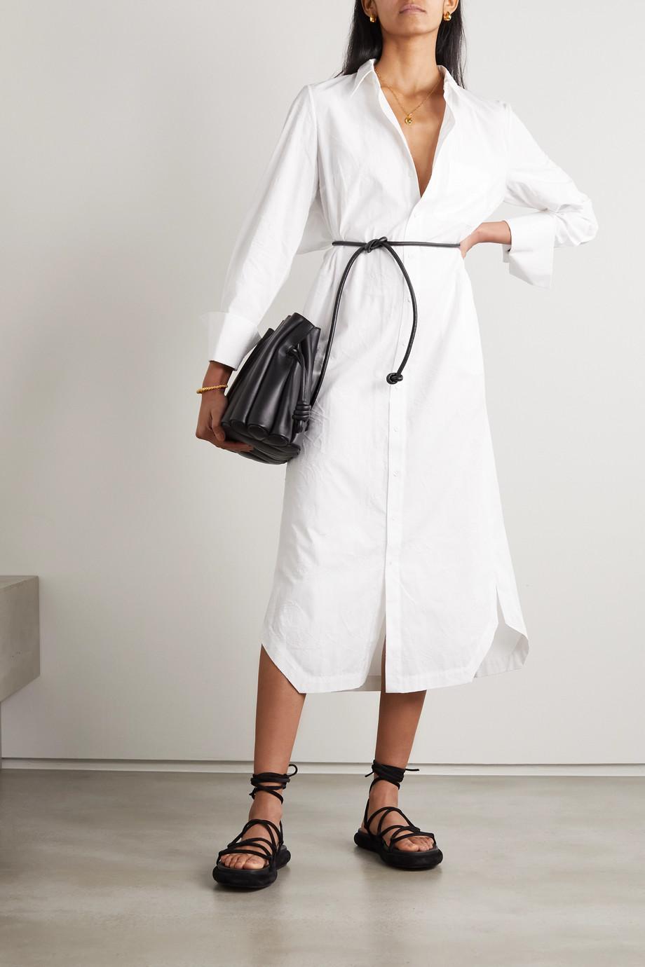Roland Mouret Kartini Midi-Hemdblusenkleid aus Baumwollpopeline mit Cut-out, Stickereien und Bindegürtel