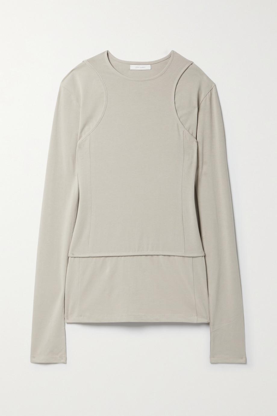LOW CLASSIC Layered cutout Pima cotton-blend jersey top