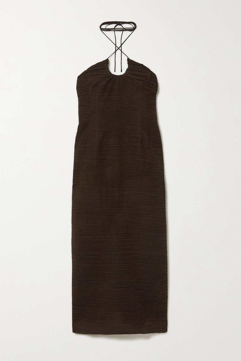 Magda Butrym Plissé-silk halterneck dress
