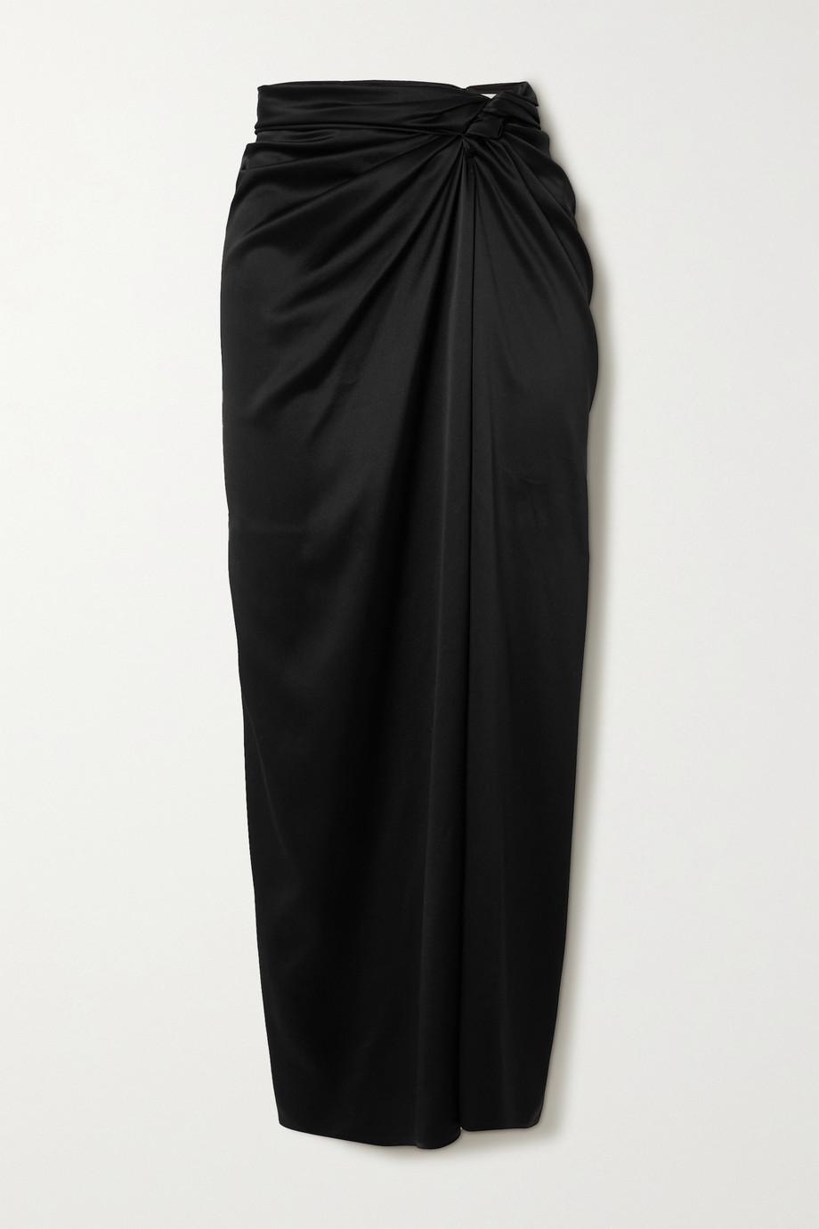 Magda Butrym Gathered stretch-silk satin midi skirt