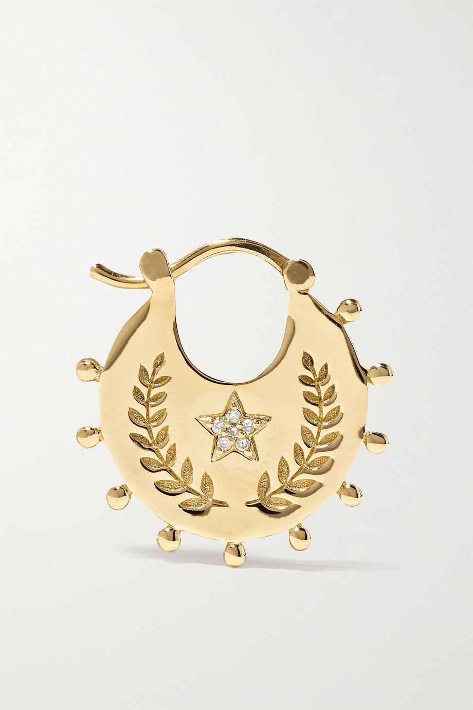 Foundrae Per Aspera Ad Astra 18-karat gold diamond single hoop earring
