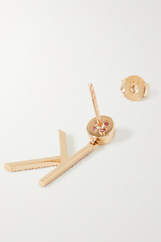 Charms Company Initial einzelner Ohrring aus 14 Karat Gold mit Saphiren