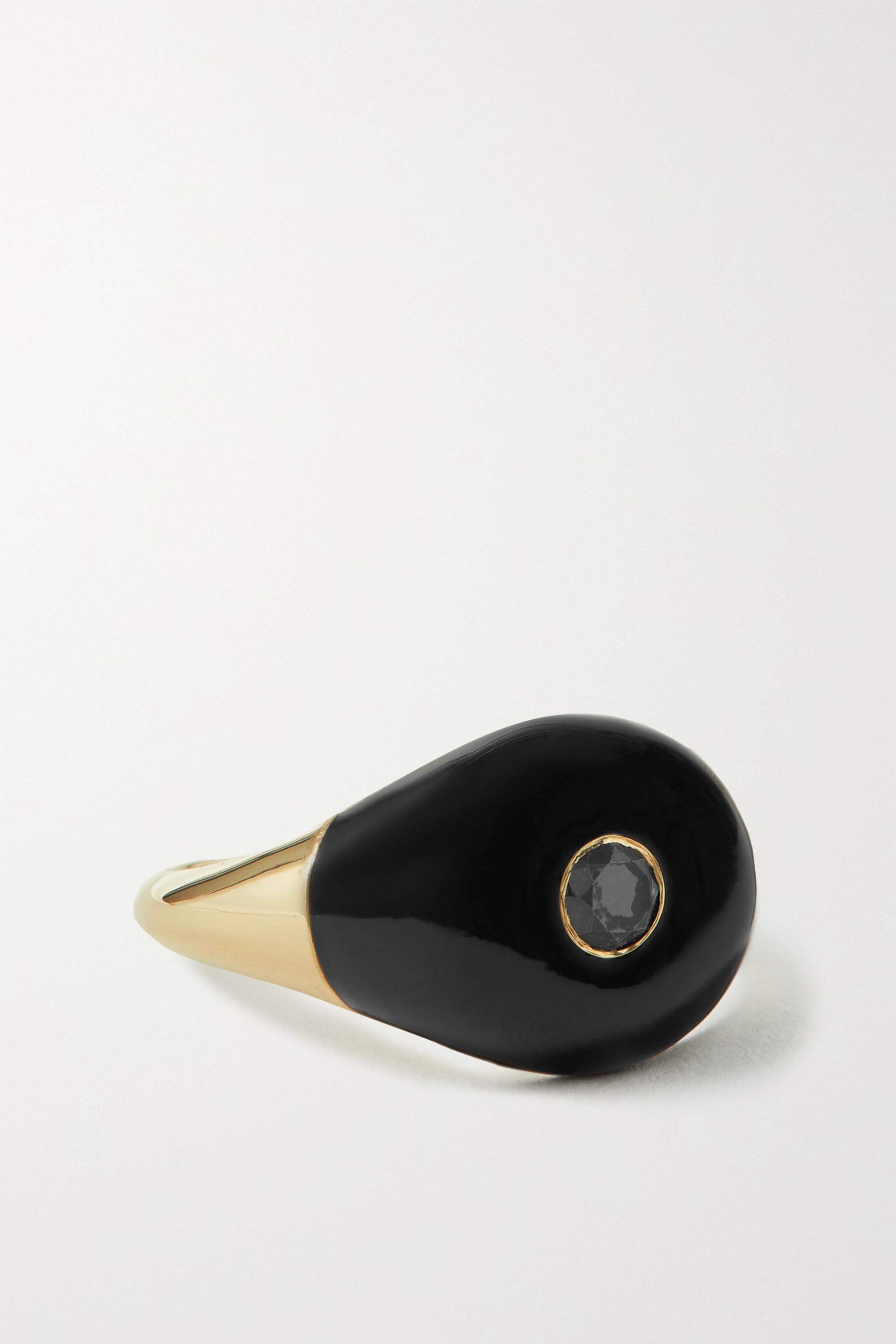 Charms Company Les Bonbons Ring aus 14 Karat Gold mit Emaille und Diamant