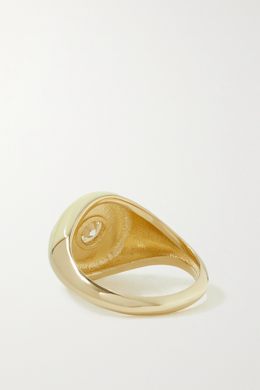 Charms Company Les Bonbons Ring aus 14 Karat Gold mit Emaille und Quarz