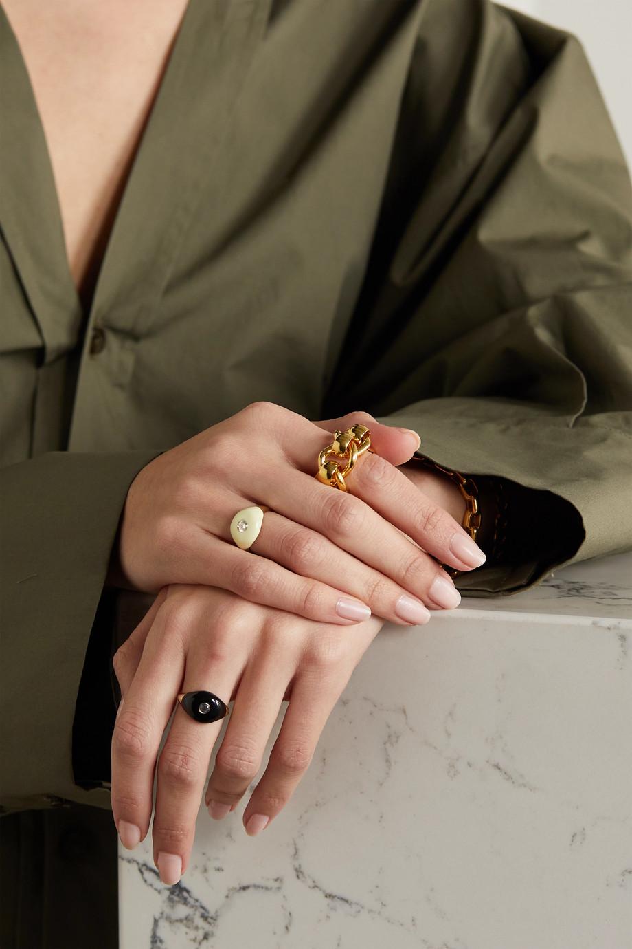 Charms Company Bague en or 14 carats, émail et quartz Les Bonbons