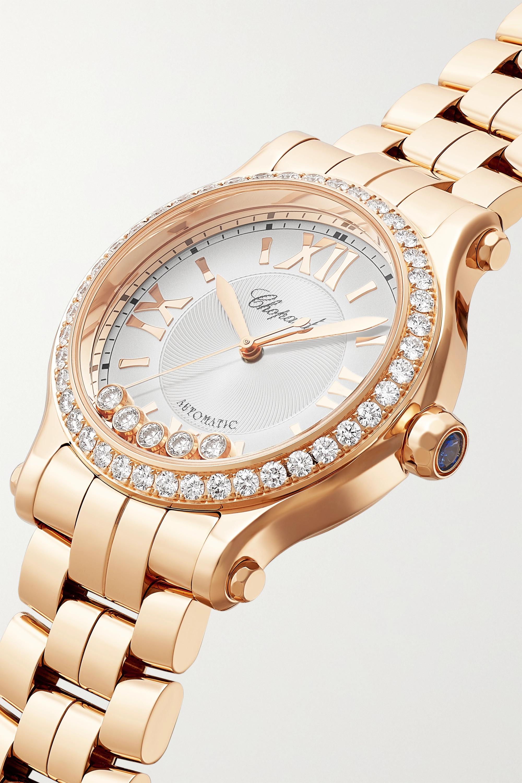 Chopard Montre en or rose 18 carats (750/1000) et diamants Happy Sport Automatic, 33 mm