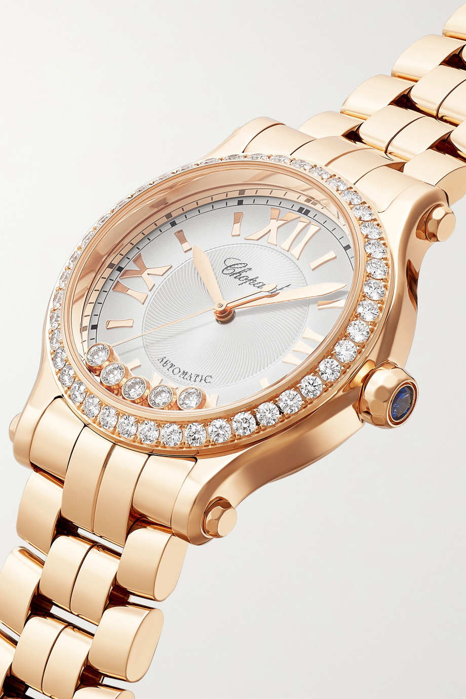Chopard Montre en or rose 18 carats et diamants Happy Sport Automatic 33 mm