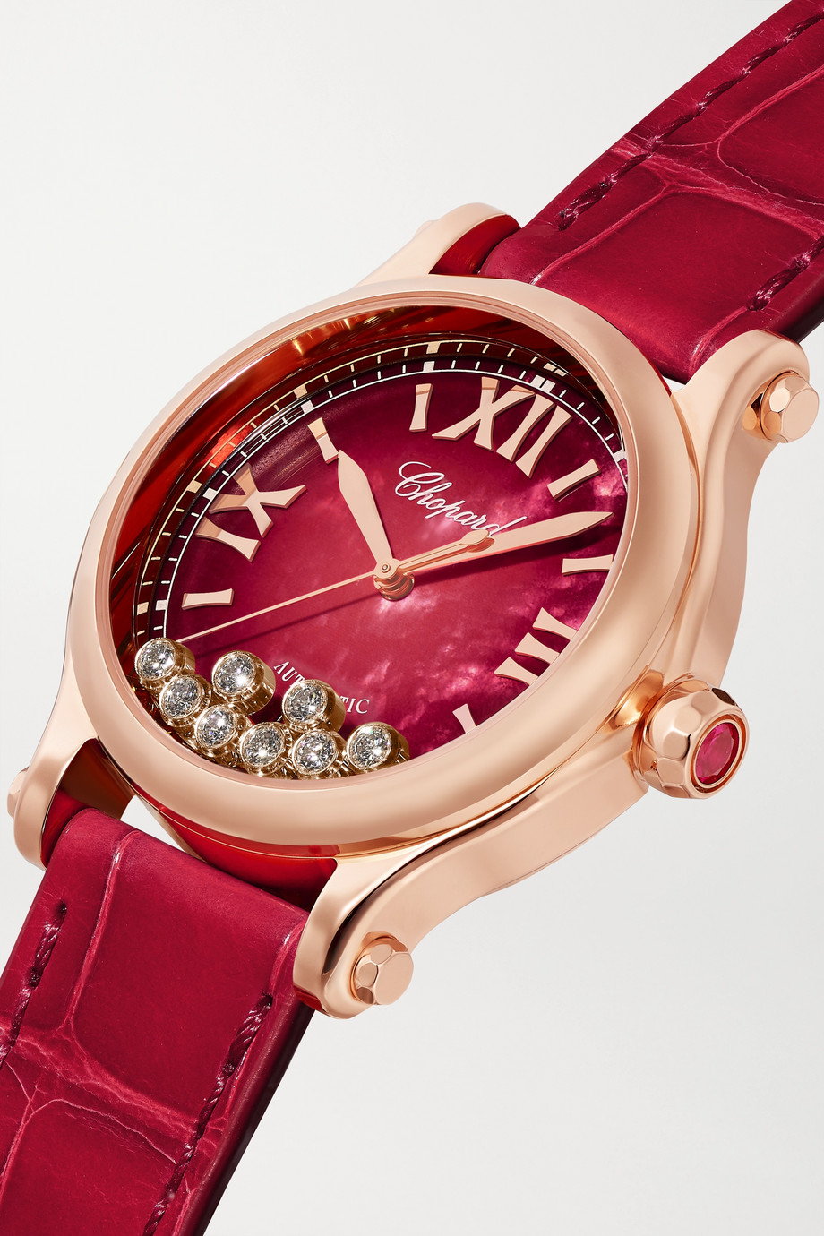 Chopard Happy Sport Automatic 33mm 18-karat rose gold, alligator, mother-of-pearl and diamond watch