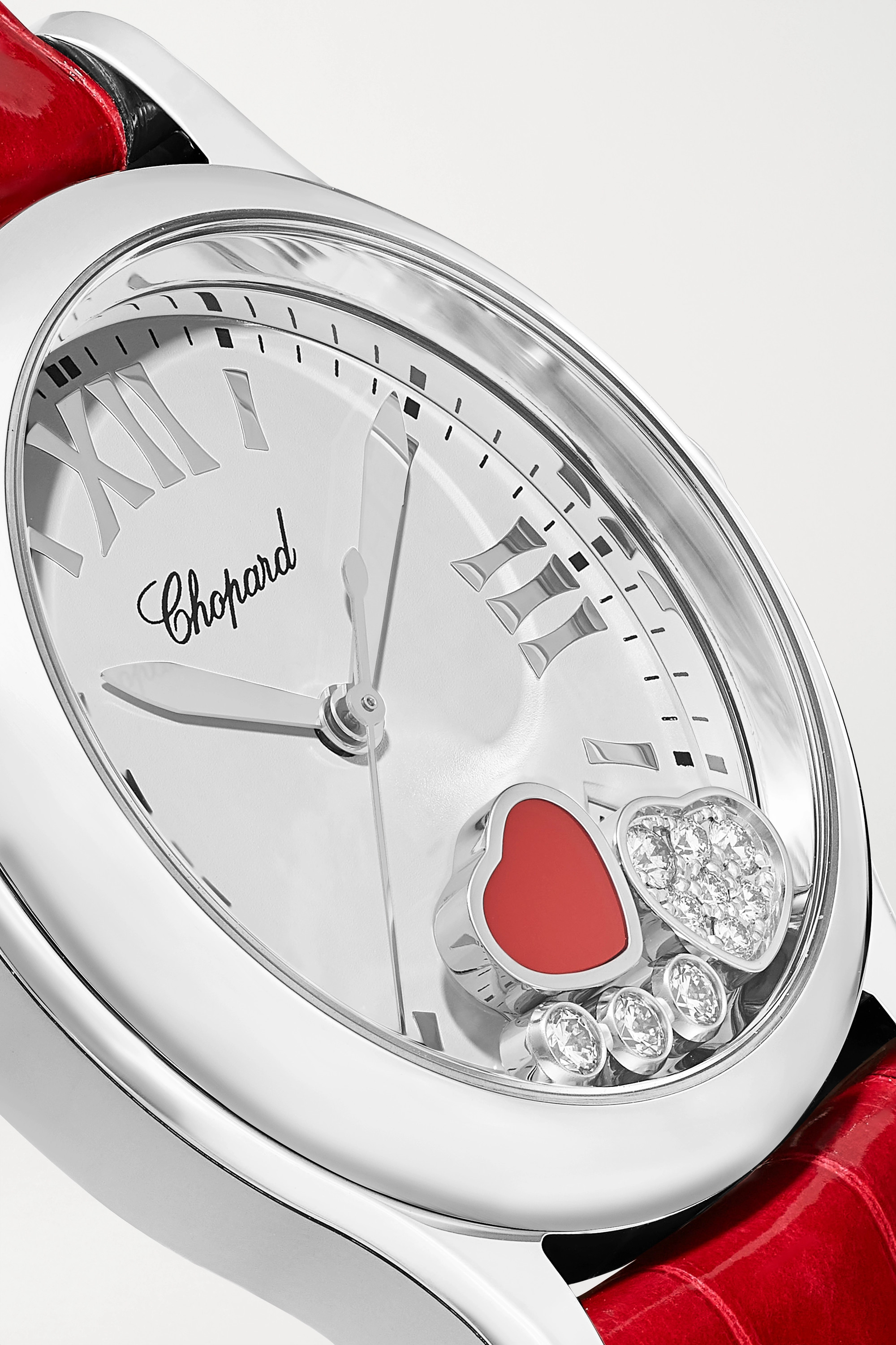 Chopard Happy Sport 36mm stainless steel, alligator, red stone and diamond watch