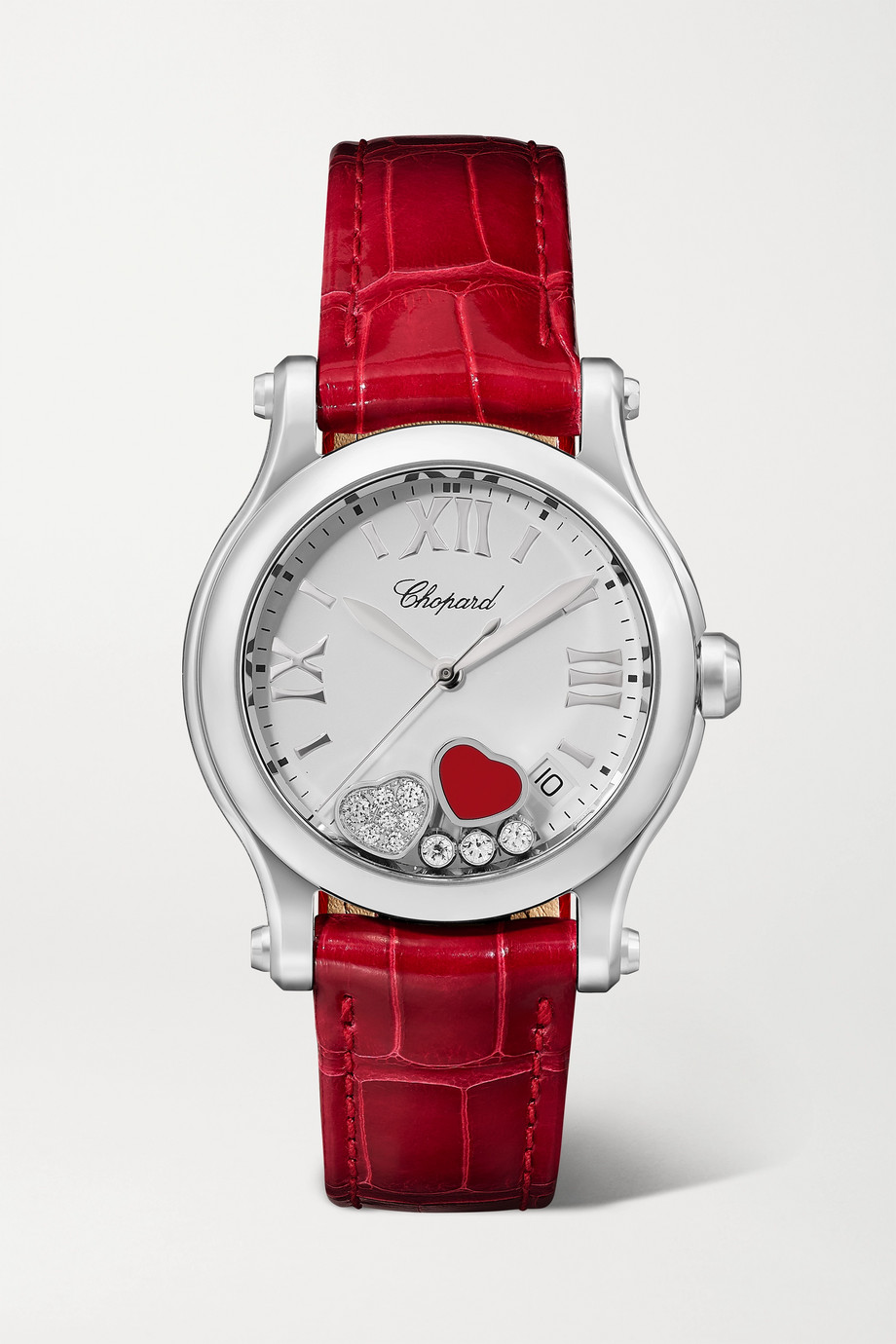 Chopard Montre en acier inoxydable, pierre rouge et diamants à bracelet en alligator Happy Sport Automatique 36 mm