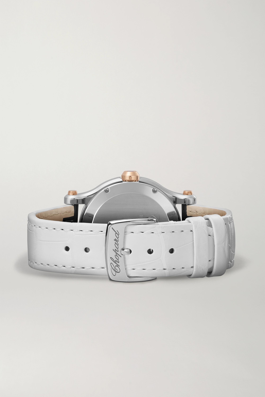 Chopard Happy Sport 36 mm Uhr aus 18 Karat Roségold und Edelstahl mit Perlmutt, Diamanten und Alligatorlederarmband