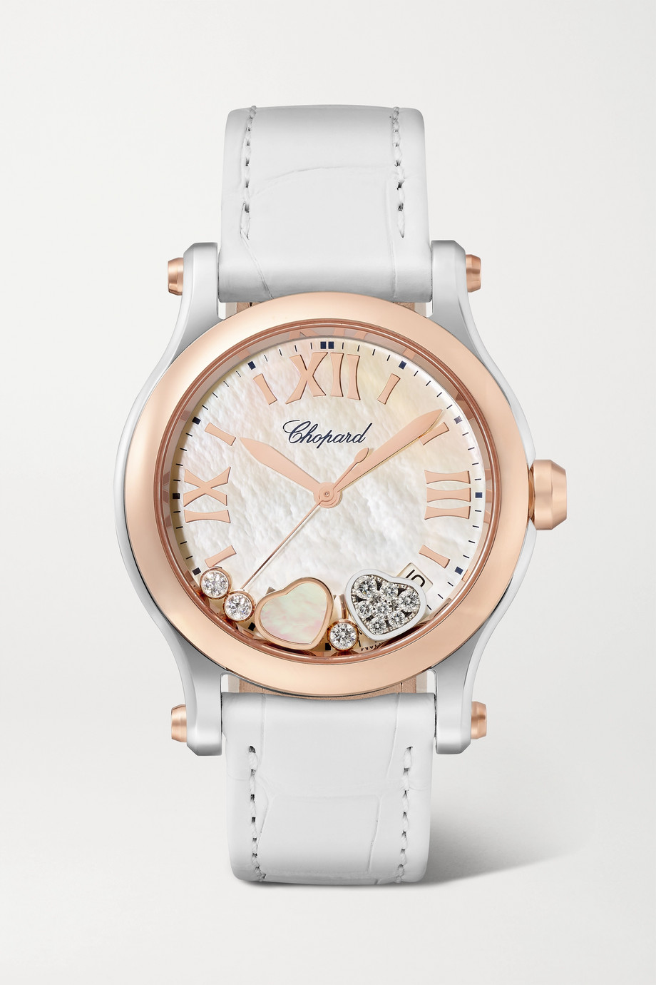 Chopard Montre en or rose 18 carats, acier inoxydable, nacre et diamants à bracelet en alligator Happy Sport Automatique 36 mm
