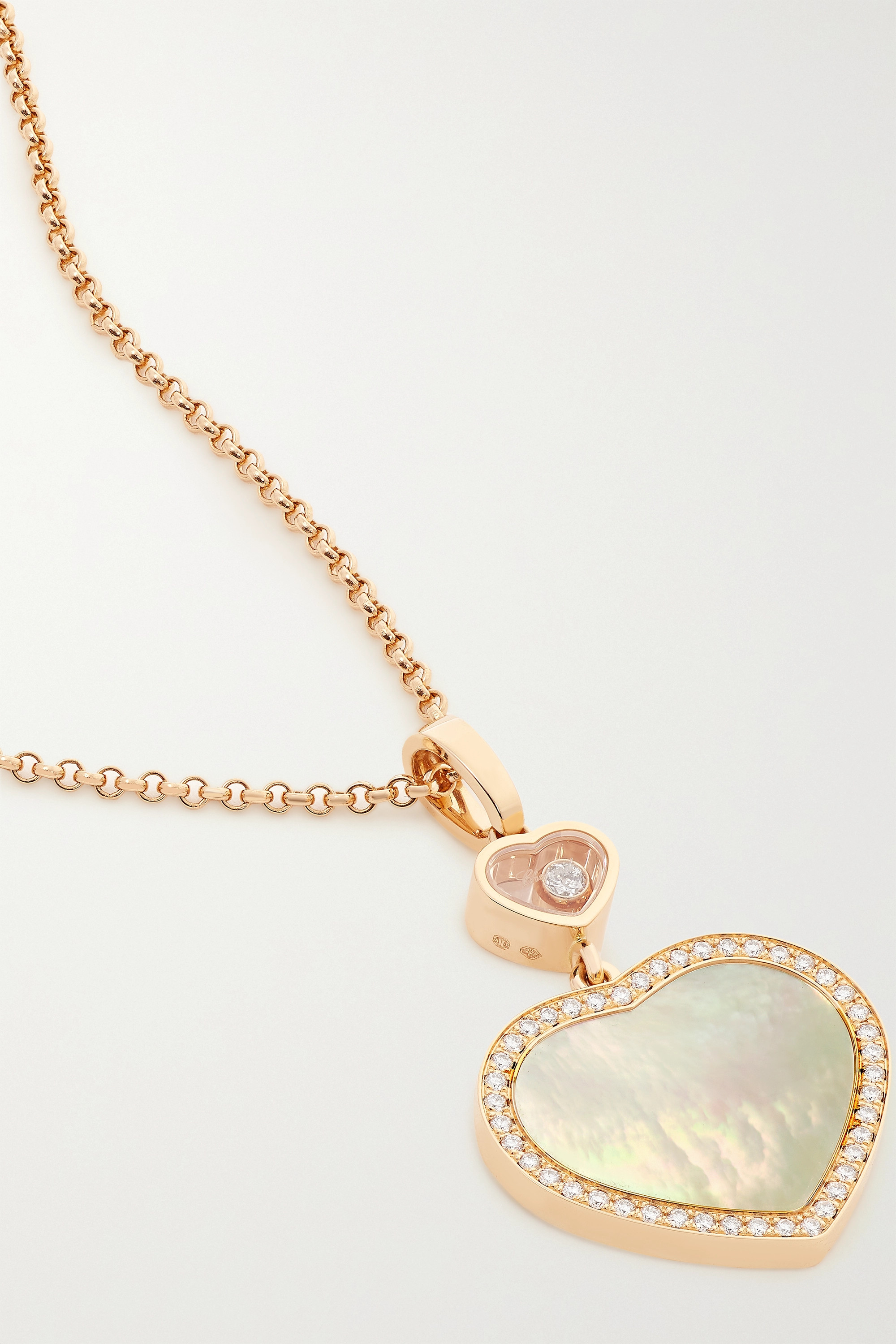 Chopard Happy Hearts 18-karat rose gold, mother-of-pearl and diamond necklace