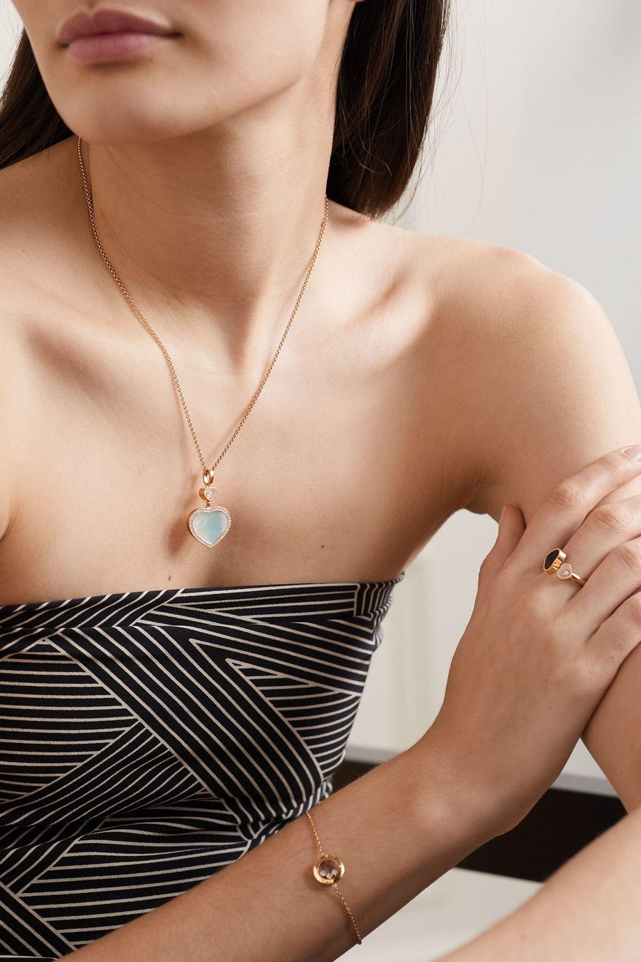 Chopard Collier en or rose 18 carats (750/1000), nacre et diamants Happy Hearts