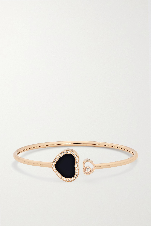 Chopard Happy Hearts 18-karat rose gold, onyx and diamond cuff
