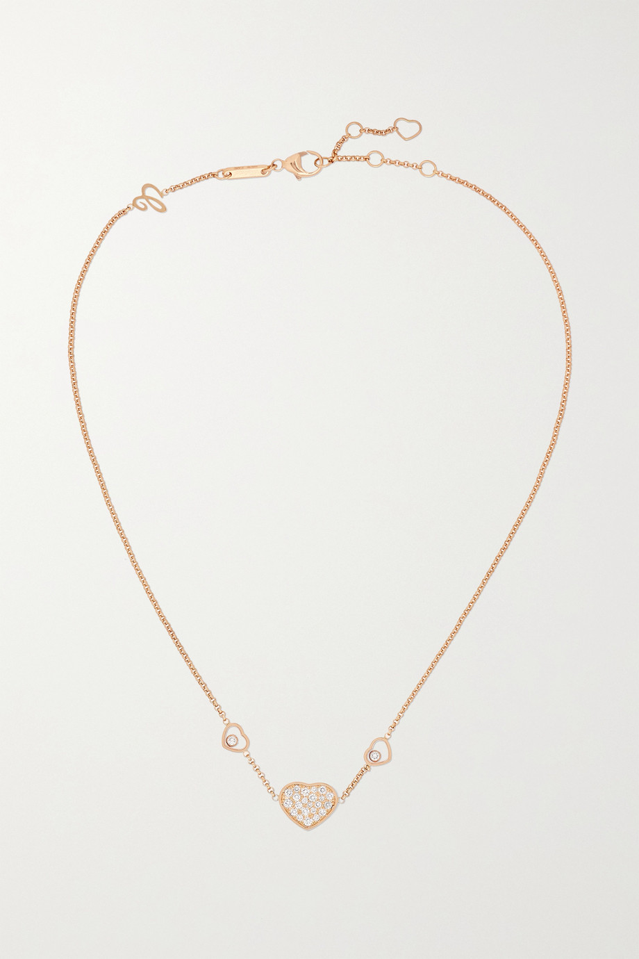 Chopard Collier en or rose 18 carats et diamants Happy Hearts