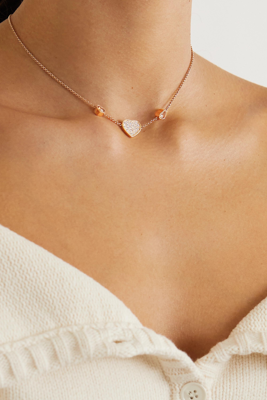 Chopard Happy Hearts 18-karat rose gold diamond necklace