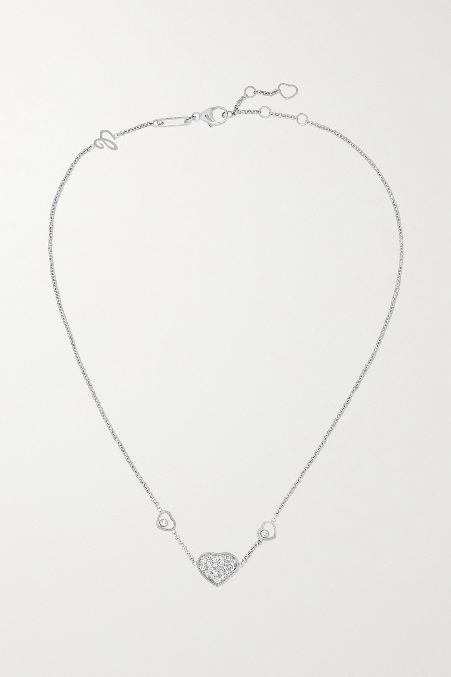 Chopard Collier en or blanc 18 carats et diamants Happy Hearts