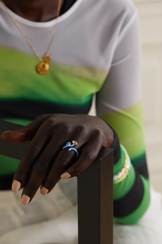 Bea Bongiasca Baby Vine Tendril Ring aus Gold und Silber mit Emaille und Bergkristall