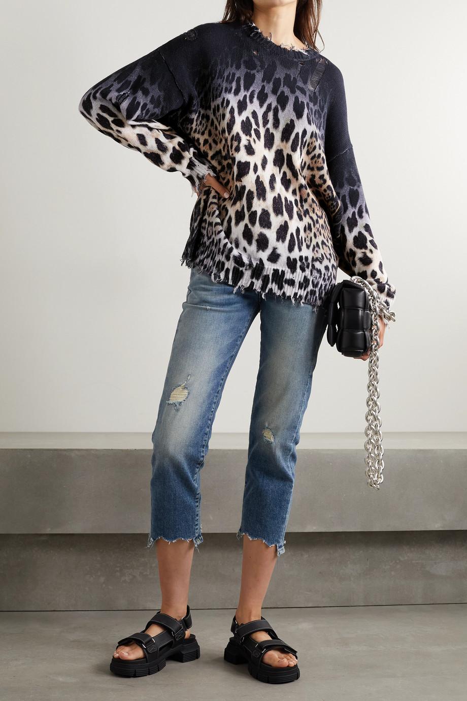R13 Pull en coton à imprimé léopard effet vieilli
