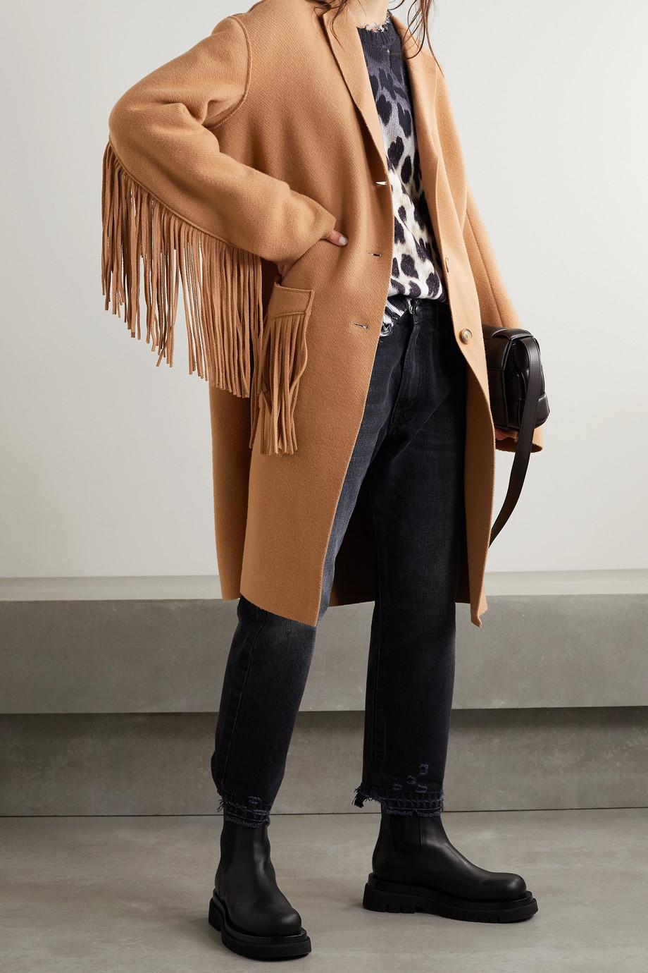R13 Fringed wool-blend felt coat