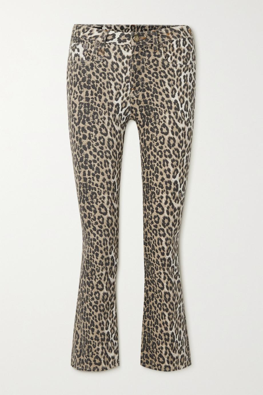 R13 Kick Fit halbhohe Schlagjeans mit Leopardenprint