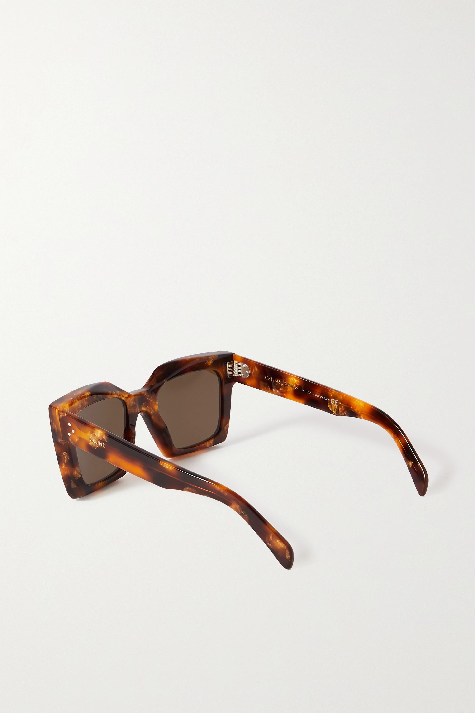 CELINE Eyewear Sonnenbrille mit eckigem Rahmen aus Azetat in Hornoptik
