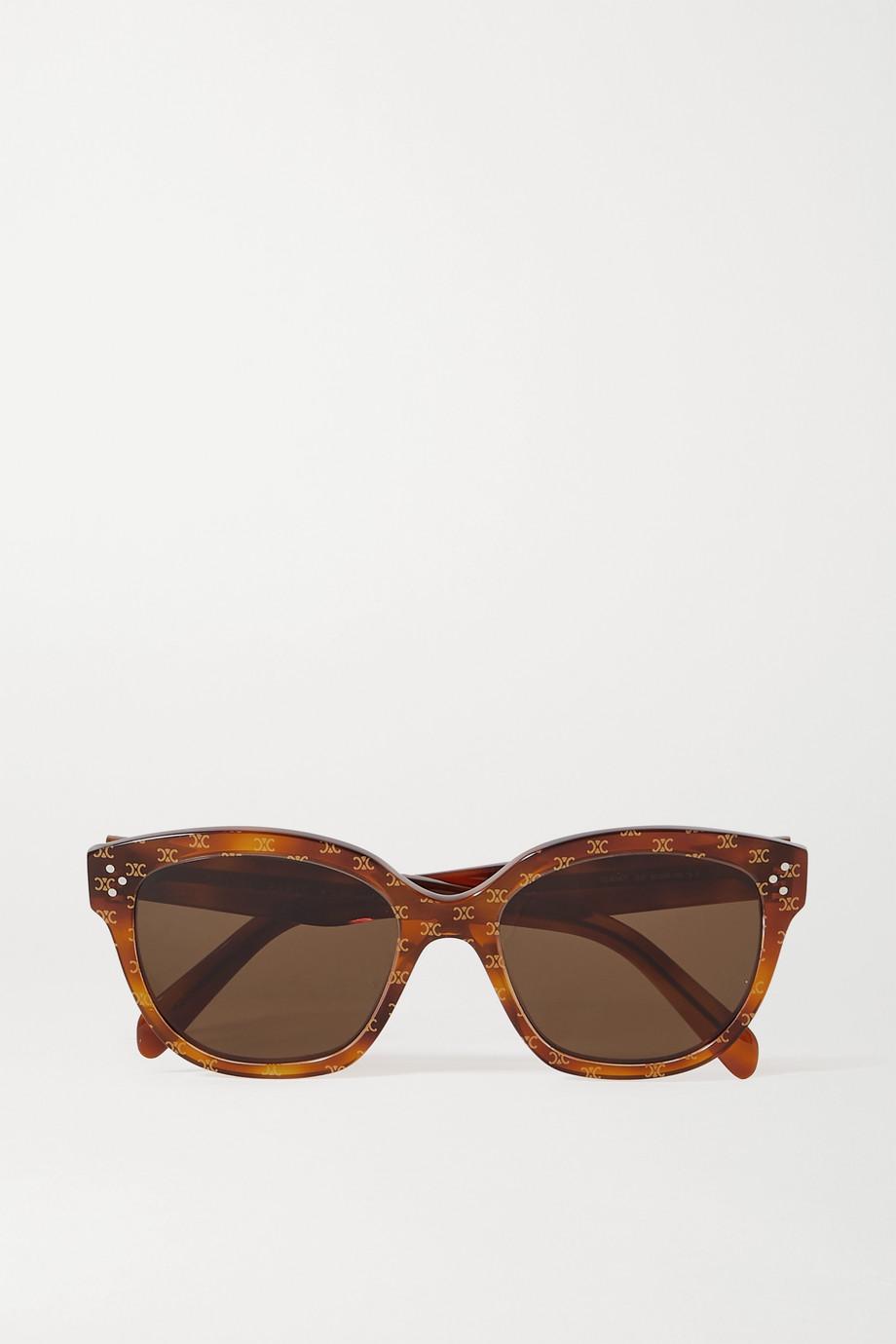 CELINE Eyewear Round-frame printed tortoiseshell acetate sunglasses