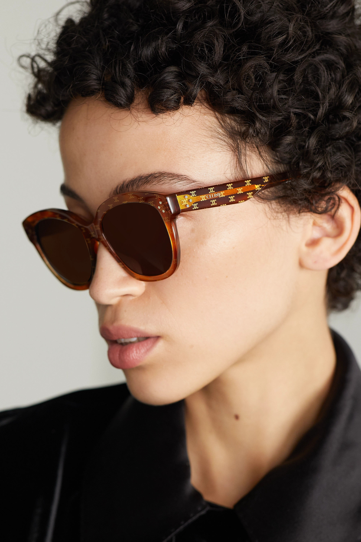 CELINE Eyewear Sonnenbrille mit rundem Rahmen aus bedrucktem Azetat in Hornoptik