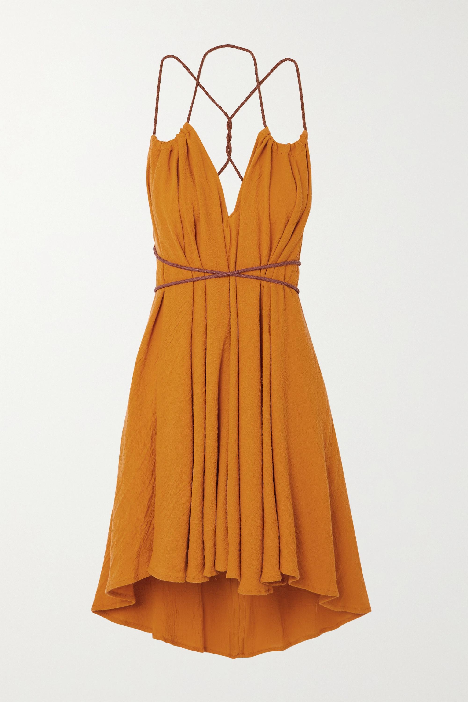 Caravana Mini-robe en coton à finitions en cuir Mahahual - NET SUSTAIN