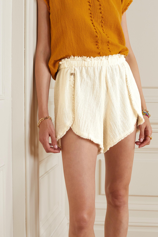 Caravana + NET SUSTAIN Tuchkin frayed cotton-gauze shorts