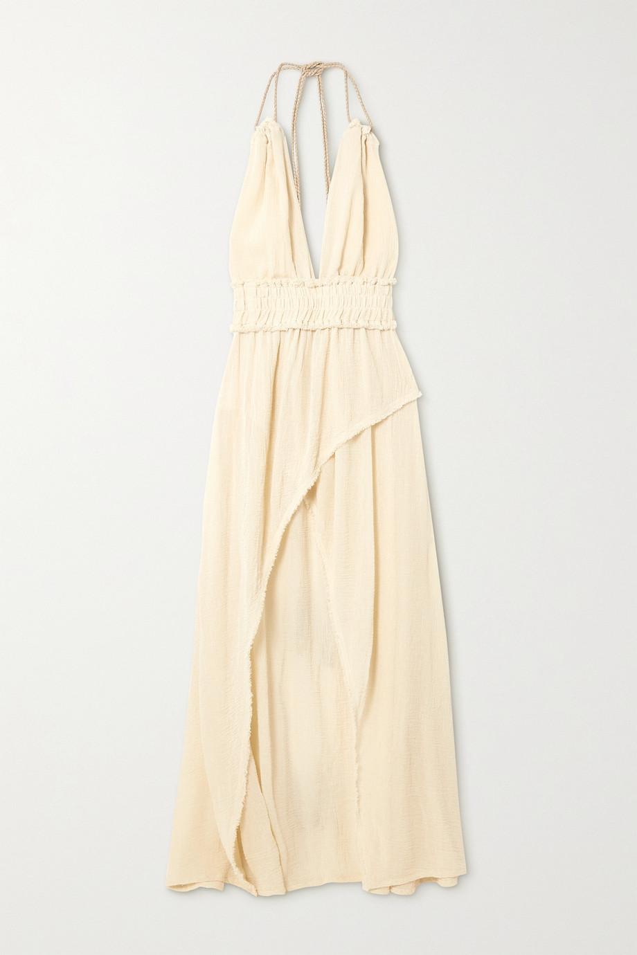 Caravana + NET SUSTAIN Alak rückenfreies Kleid aus Baumwollgaze mit Lederbesätzen