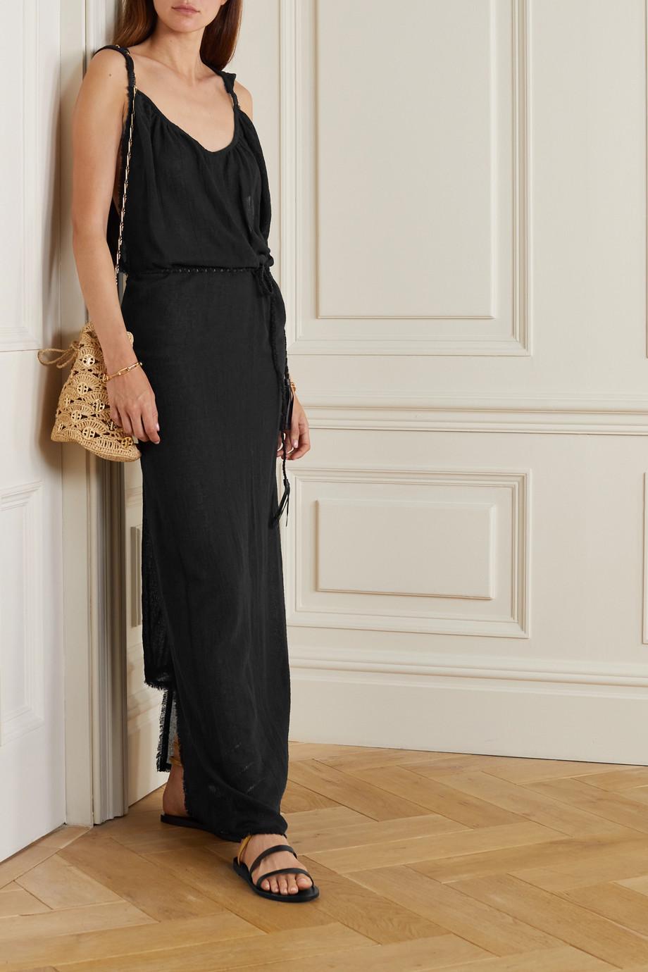 Caravana + NET SUSTAIN Muuk leather-trimmed cotton-gauze dress
