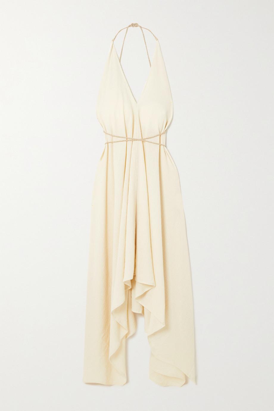 Caravana + NET SUSTAIN Yatzil open-back leather-trimmed cotton-gauze dress