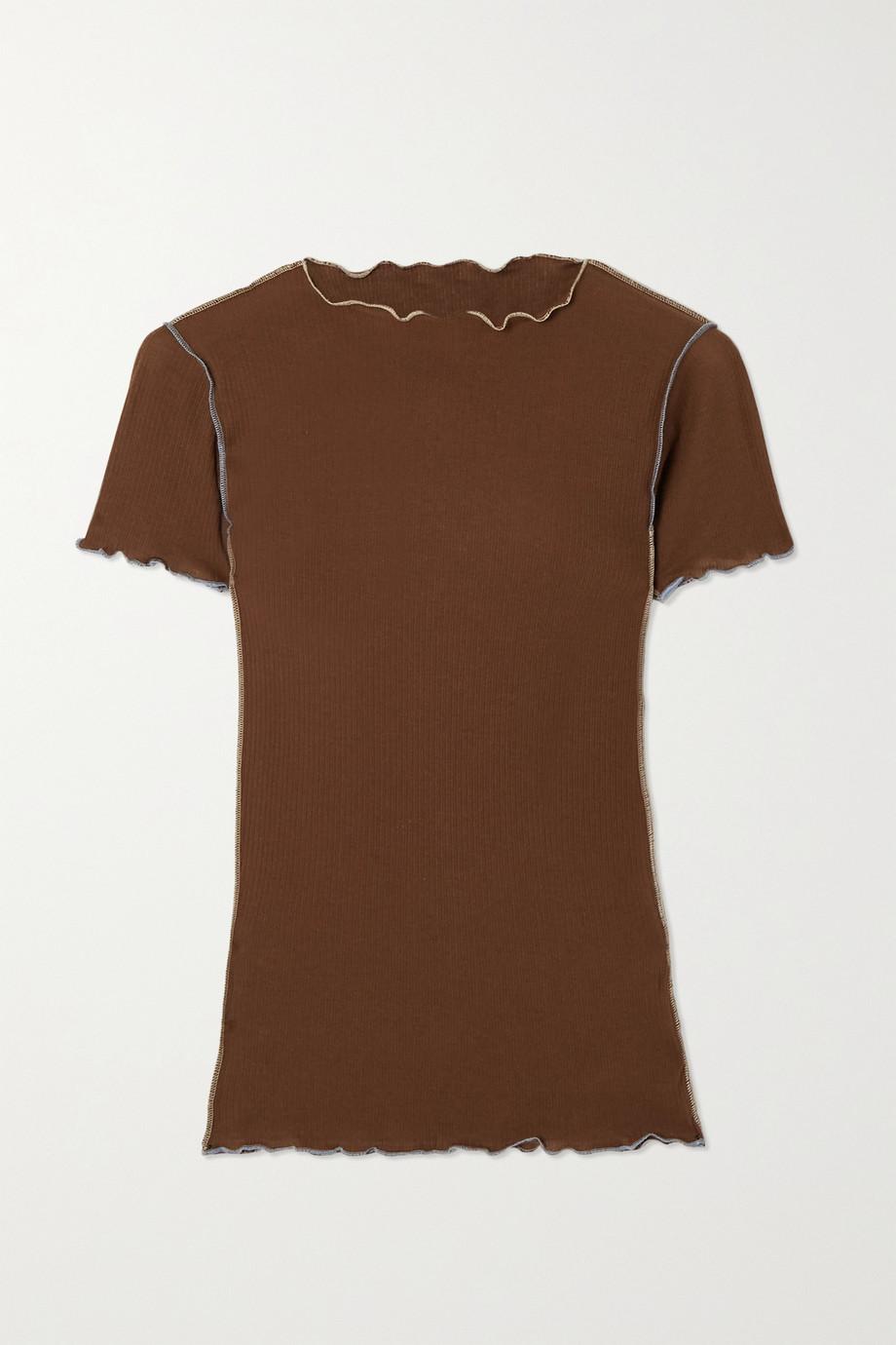 Baserange Vein ruffled ribbed organic cotton T-shirt