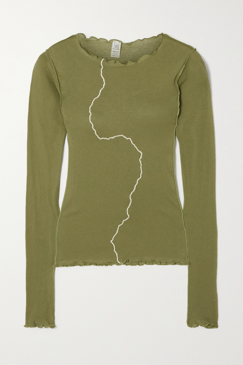 Baserange Rio ruffled organic cotton-jersey top