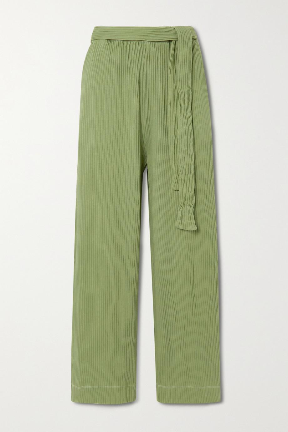 Baserange Lhasa cropped belted ribbed organic cotton wide-leg pants