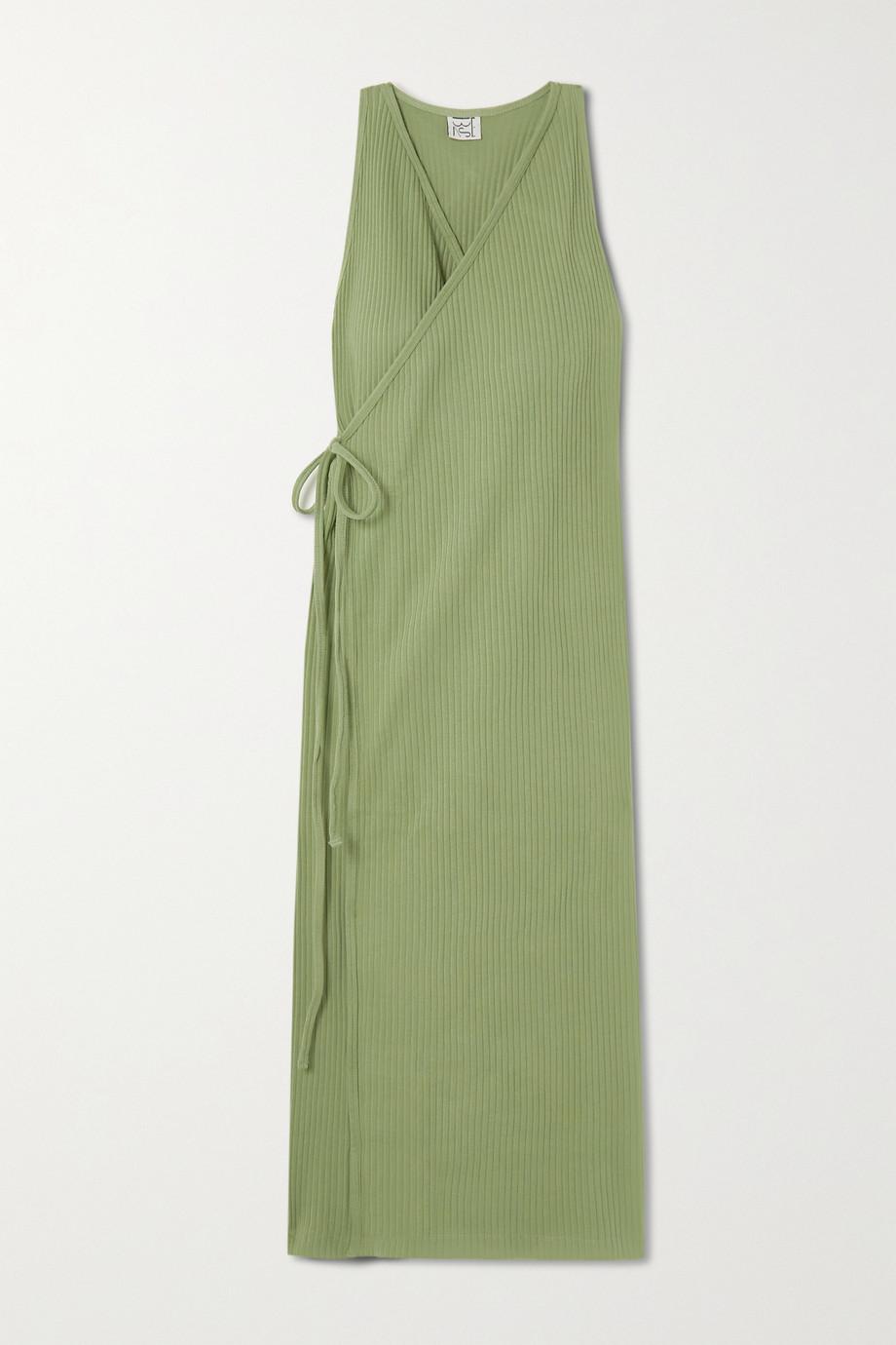 Baserange Cleat ribbed organic cotton wrap midi dress