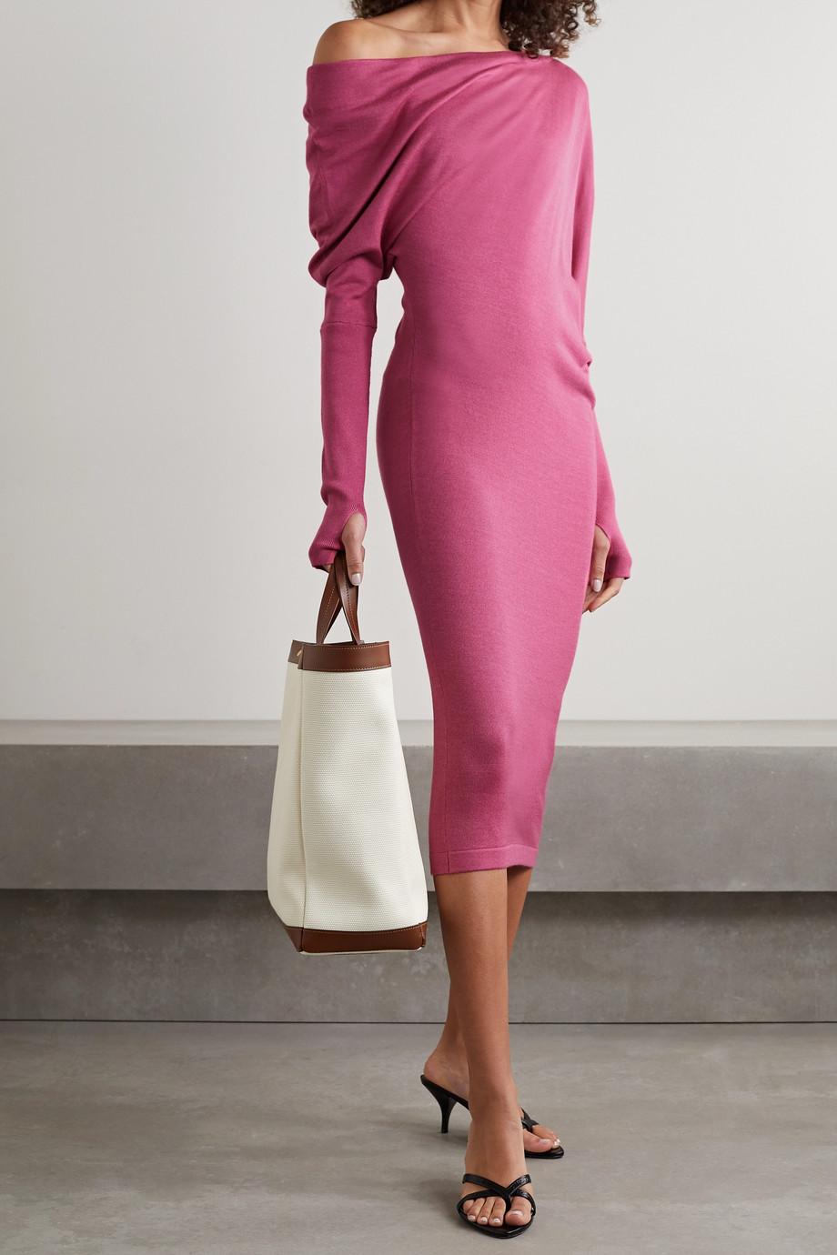 TOM FORD One-shoulder cashmere and silk-blend midi dress