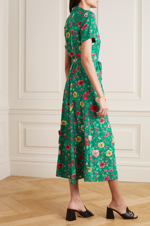 HVN Maria Maxi-Hemdblusenkleid aus Seide mit Blumenprint und Bindegürtel
