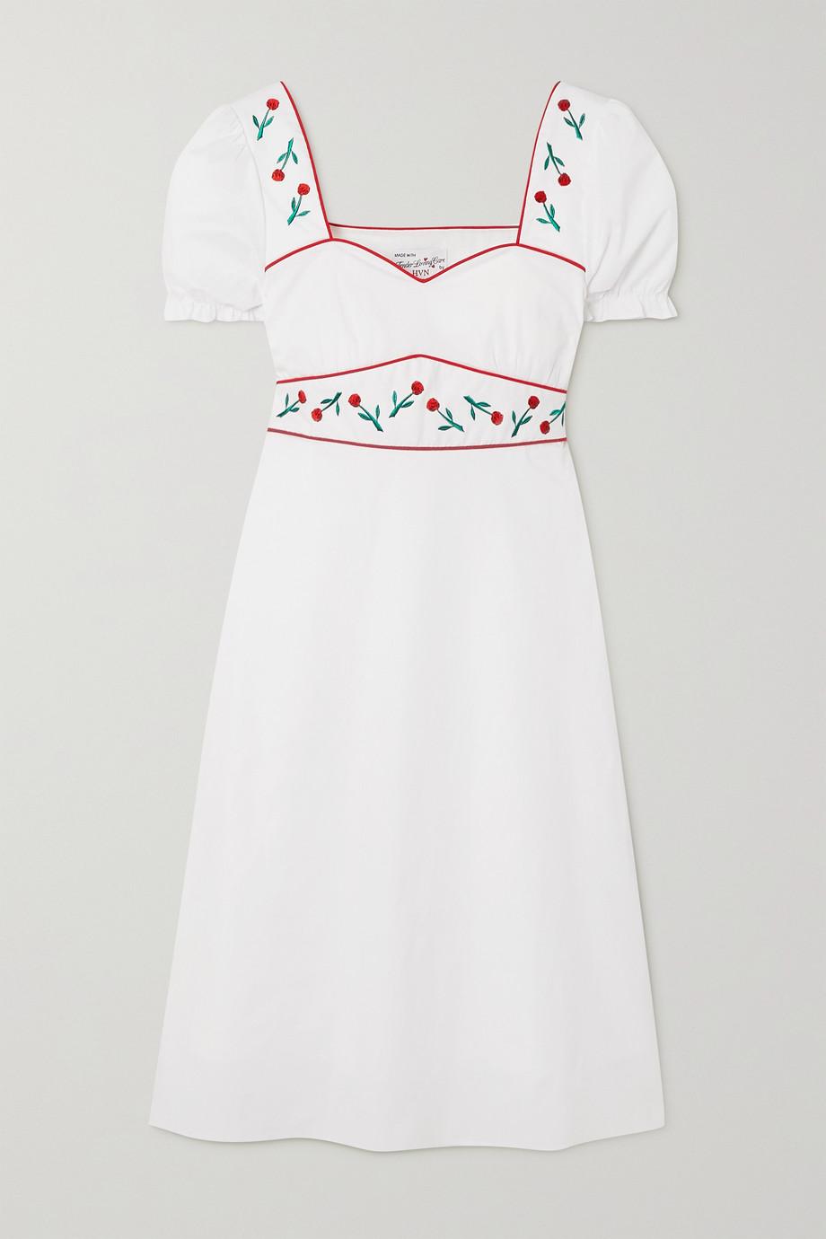 HVN Zoey Kleid aus Popeline aus einer Baumwollmischung mit Stickereien