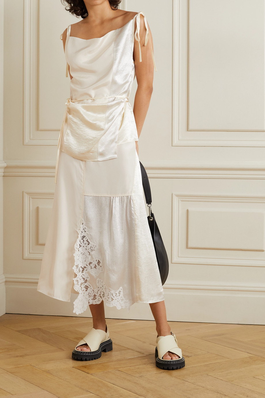 Acne Studios Paneled corded lace-trimmed hammered-satin and shell midi skirt