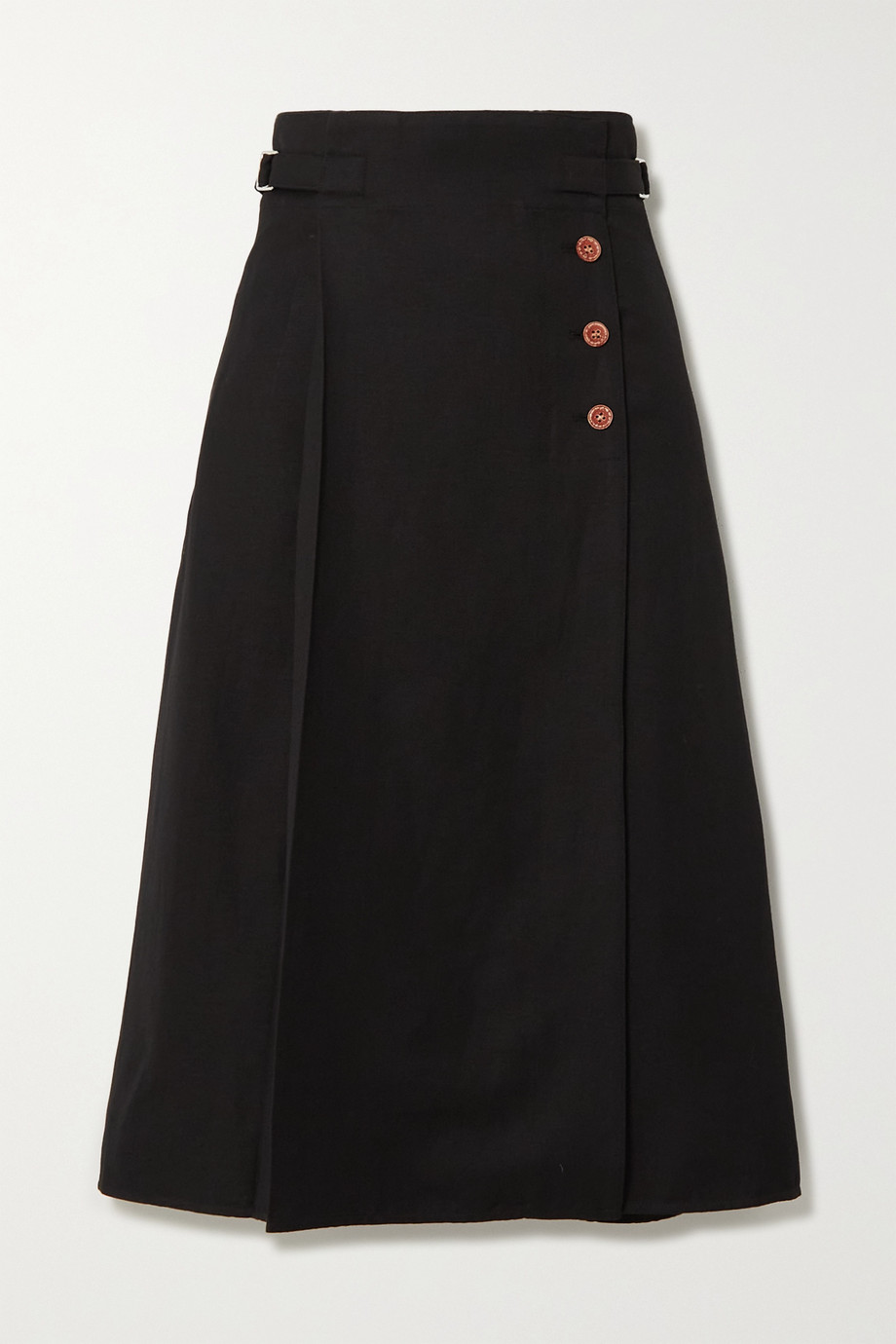 Acne Studios Wool and hemp-blend twill midi skirt