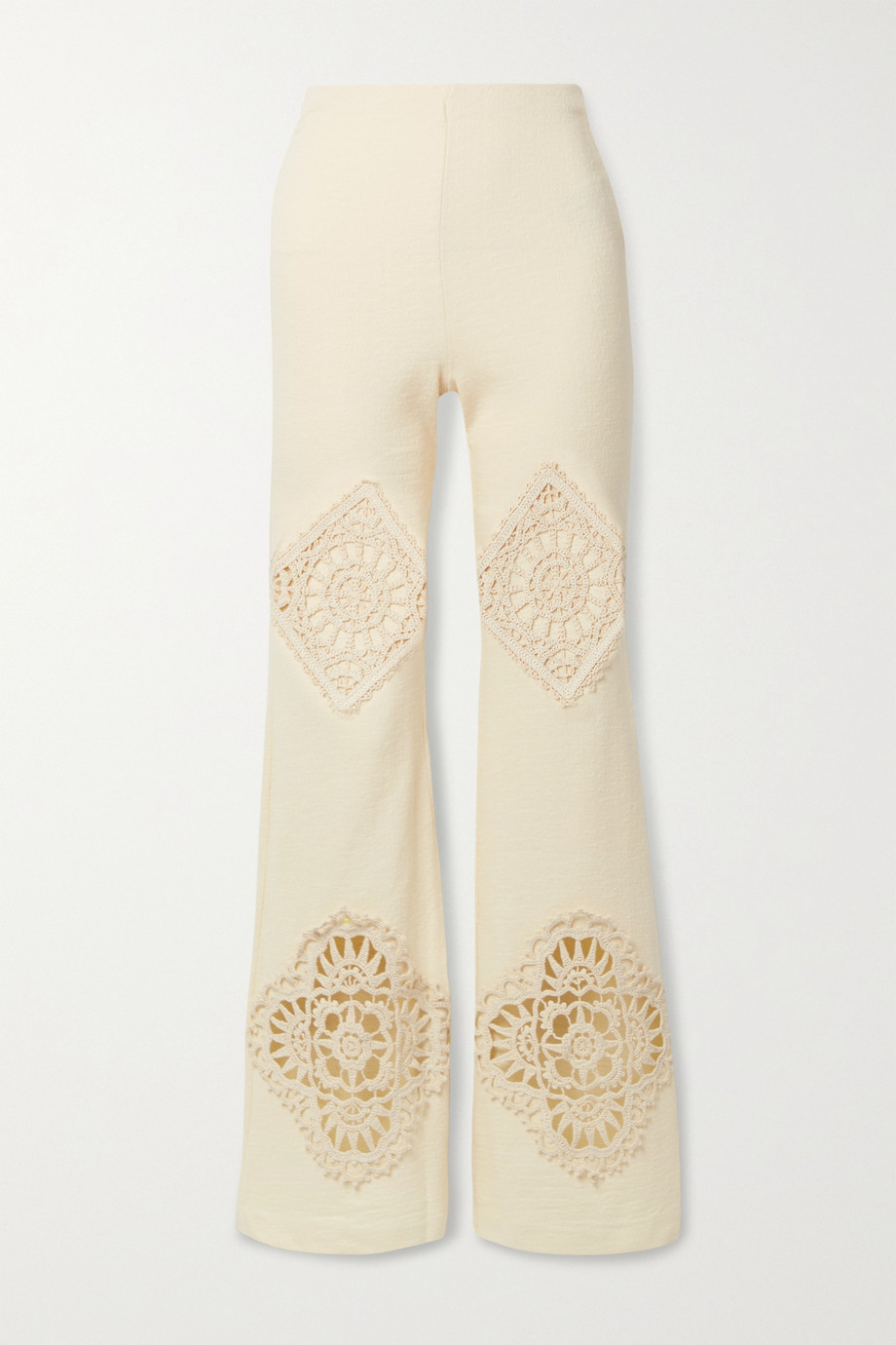 Acne Studios Crochet-trimmed cotton-blend straight-leg pants