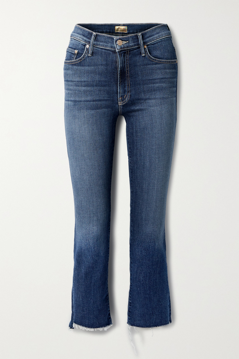 MOTHER The Insider cropped frayed high-rise flared jeans