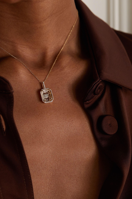 Mateo Collier en or 14 carats (585/1000), quartz et diamants Secret Heart