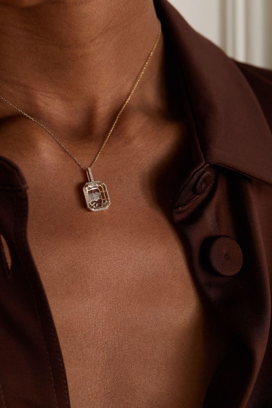 Mateo Secret Heart Kette aus 14 Karat Gold mit Quarz und Diamanten